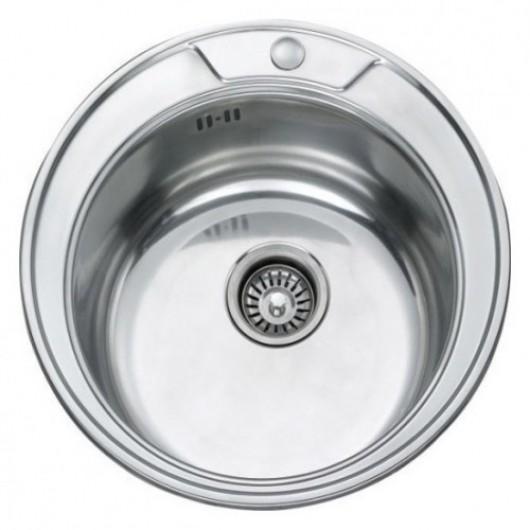 Врізна кругла мийка під стільницю без сушки 490 полірована