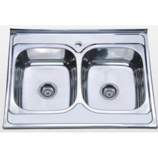 Накладна подвійна мийка без сушки 8060 0,6мм матова