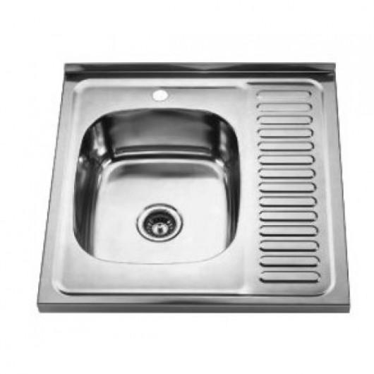 Накладна мийка з крилом 6060 L/R 600x600
